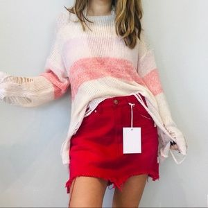 NWT One Teaspoon hot pink distressed mini skirt